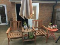 Two seater garden chair and table