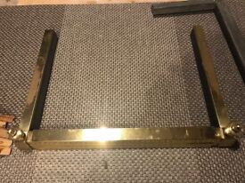 Vintage brass fireplace fender adjustable