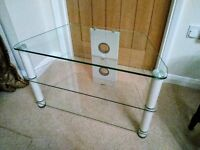 Glass and white TV stand unit - 3 shelves (TV plus two others) good condition