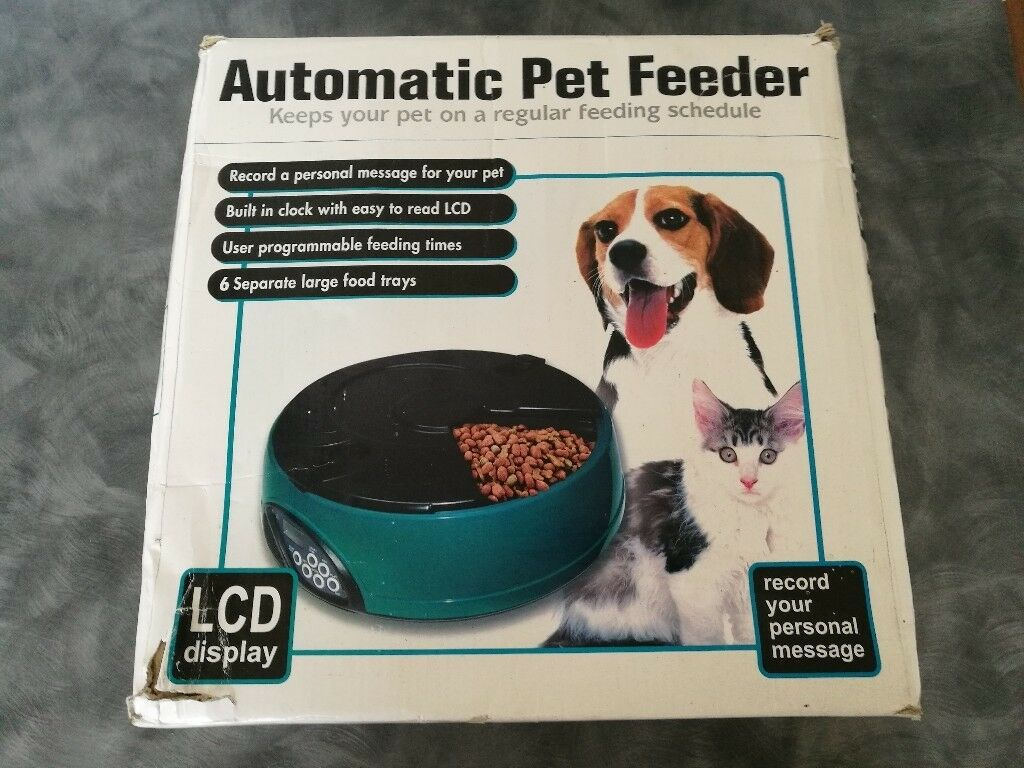 Unused 6 Meal Day Automatic Pet Feeder Dish For Cat Dog Bowl Holiday Auto Dispenser