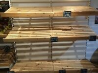 Wooden shop shelving