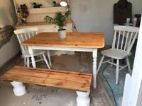 Vintage Pine Farmhouse Table with Bench & 2 Chairs