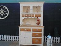 SOLID PINE FARMHOUSE WELSH DRESSER PAINTED WITH LAURA ASHLEY CREAM COLOUR AND WAXED FOR PROTECTION