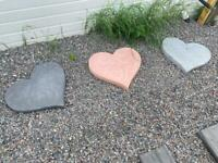 🧡 Concrete Love Heart Stepping Stones / Flags / Garden Ornament ~ New