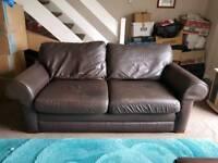 Brown leather sofa set
