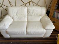 Cream Italian 2 Seater Leather Sofa