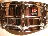 """Premier Model 35 alloy snare drum 14 x 5 1/2"""" - Leicester - '77- Ludwig 400 homage -ground-breaking"""