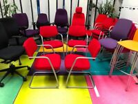 4 x Stacking Chairs/Reception Conference Waiting Room Chairs/Meeting Chairs