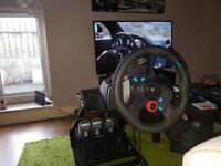 Logitech G29 with shifter and GT Omega stand with gear stick mount