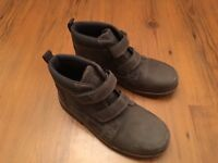 Clarks boys brown leather boots - as new and unworn - size 2G