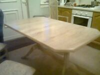 extending table and 4 high back chairs £75