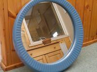 Large Round Mirror with blue ceramic surround