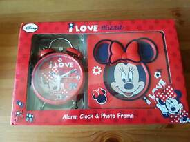 Minnie mouse alarm clock and photo frame