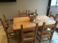 Solid chunky pine family dinning table & 6 chairs