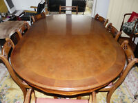 Italian walnut dining table and chairs