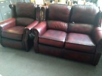 Thomas Lloyd Genuine Chesterfield Leather Two Seater Sofa & Arm Chair