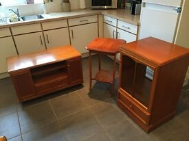 TV Cabinet, Music Centre Unit, Display Table. Items in great condition, plenty of storage space