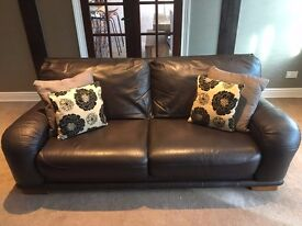 Leather Sofa & chair (Dark Brown including furnishing)