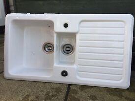 Porcelain kitchen sink two basins. 92cms X 51cms