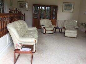 Three piece cream leather suite ,good condition