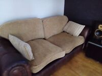2 x large 3 seater leather sofas. FREE TO COLLECTOR ASAP.