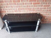 Large black tempered glass tv stand