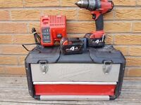 Milwaukee Fuel BRUSHLESS 18v Li-ion Combi drill, 2x 4ah batts, charger,case,USED.