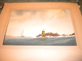 A WATER COLOUR OF A BOAT IN HARBOUR 18X12 SIGNED
