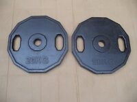 Pair rubber coated olympic cast iron 20kg weights