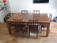 John Lewis Samara 8 Seater Dining Table & 6 vintage red-leather chairs