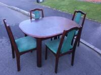 Solid wood extending dining table and chairs