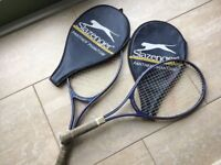 Two Men's SLAZENGER Panther Phantom Tennis Rackets all Strings Complete both with zip head covers