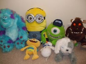 assorted teddies, minion gruffalo doc mcstuffin monsters inc - see prices in description