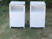 Pair of white Lloyd Loom upcycled bedside cabinets