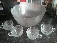 Large glass floral punchbowl & 4 matching cups