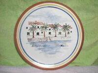 "CERAMIC POTTERY 9 1/2"" dia PLATE - FORNELLS , MENORCA - COLOURFUL SCENE- ATTACHMENT ON BACK TO HANG"