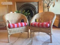 Pair of children's wicker chairs and cushions