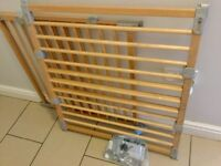 Pair of wooden Flexifit Babydan stairgates, fit any space, no trip bar