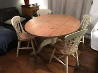 Oval Solid Pine Farmhouse Dining Kitchen Table With 4 chairs