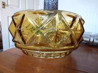 Lovely 1950s Sputnik era Heavy Amber glass Bowl (Vintage Mid Century)