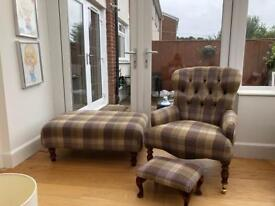 Arm chair & foot stool/coffee table