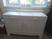 Retro white painted wooden sideboard unit