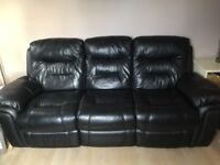 3 Seater Leather Recliner Sofa in Black