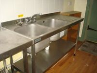 2 x Sissons Stainless Steel Commercial Catering Sinks PLUS Preparation Mini Wall Table