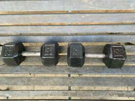 Pair of 22kg solid steel dumbells