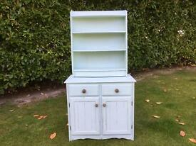 Hand Painted Shabby Chic kitchen dresser in a fresh mint green