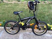 "KIDS BOYS GIRLS UNISEX STREETFOX KOBRA 18"" WHEEL 12"" FRAME WITH HELMET AND STUNT PEGS BMX BIKE"