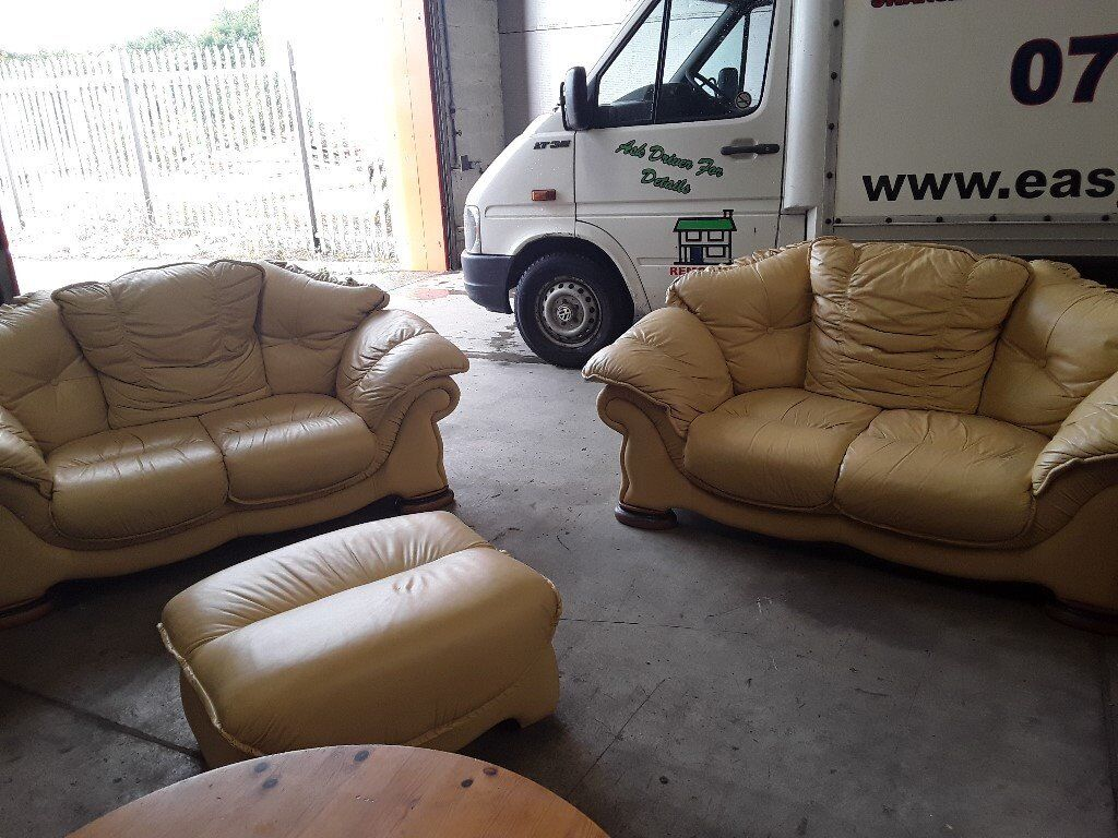 TWO X TWO SEATER SOFAS + POUFFE