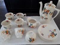 Vintage Grindley China Floral Pattern Coffee Set