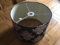 NEXT black and silver lampshade. 35cm diameter. As new. Smoke free home. Near Bourne. £5.